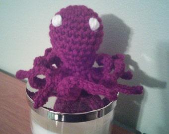 Burgundy crochet handmade amigurumi octopus kid's baby stuffed animal toy