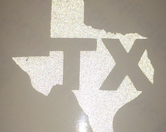 Fire Helmet Decal / Sticker ->>Reflective Personal Identifier<<-        State of Texas Logo -- 3M Scotchlite --Permanent --Highly Reflective