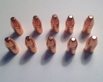 "Copper bullet jewelry supply, lot of ten 3/4"" copper bullets, bullet craft, copper jewelry, half ounce copper bullet copper craft supply, 38"
