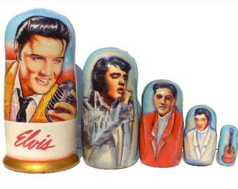 FREE Shipping * Nesting dolls (5 pcs) * Matryoshka * Russian nesting doll * Babushka doll * Stacking dolls * Elvis Presley