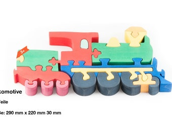Wooden puzzle locomotive
