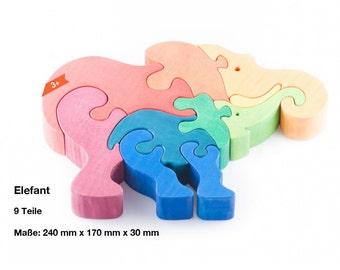 Wooden puzzle elephant