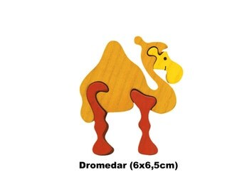 Mini Puzzle Dromedary / Handmade / Animals / Wooden toys / Zoo / Africa / Waldorf / Montessori