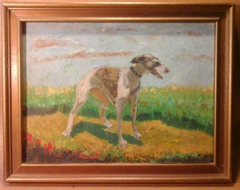 Oil Painting, Whippet, by New York Artist
