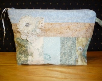 Project bag, FREE SHIPPING!!!, Pieced light blue and tan, Cosmetic bag, Kindle or e reader bag, knitting bag