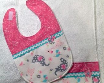 Baby Girl Pink, Aqua and Grey Bib & Burp Cloth Set - Great Gift Idea - Elephant Bib Set - Baby Bib - Cute Baby Bib - Modern Baby Girl Bib