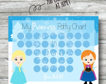 Printable Frozen Potty Training Chart- Instant Download- Anna and Elsa PDF-
