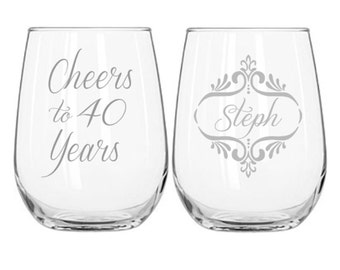 40th Birthday Gifts for Women, Two Sided Wine Glass, Cheers to 40 Years Personalized Birthday Gift, Etched Wine Glass, Stemless or Stemmed