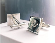 Anchor Personalised Sterling Silver 925 Mens Cufflinks Best Man Groomsman Fathers Gift