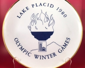 Vintage 1980 Olympic Winter Games Lake Placid Limited Edition Plate by Delano Studios from an original design by Marie Lanza Wiese