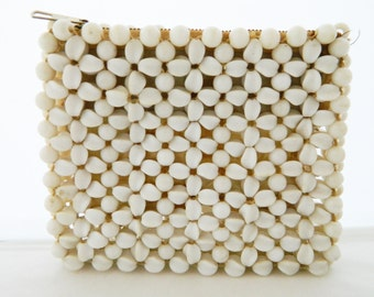 "Vintage Mid Century 50s Fashion Clutch Handbag 5x6"" Beaded Faux Shell Designed by Miss Ellen Made in British Hong"