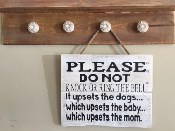 Please Do Not Knock Or Ring Bell Door Hanger Baby Sleeping Do