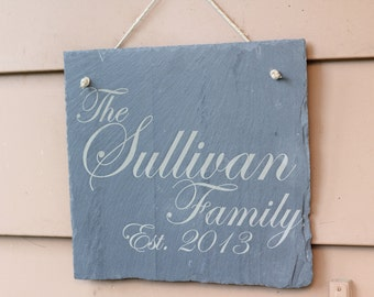 Family Sign, Engraved Slate Tile, Slate Home Decor, Personalized Slate Sign, Custom Engraving, Custom Sign, Engraved Tile - Any Text