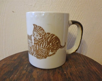 Large Kitten Motif Coffee/Tea Mug Circa 1970s