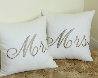 Couple Pillow Mr And Mrs Embroidered Pillow Cases for Newlyweds, Anniversary, Wedding, Engagement, Love, Couples Gift