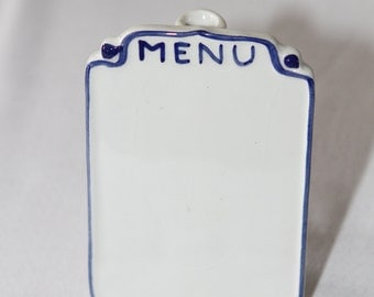 Vintage Menu Board with Attached Flower Vase Blue and White - Delft-Like