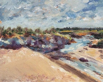 """Blank Greeting Card """"Over the dunes to Seal Island, sunshine towards Titchwell."""""""