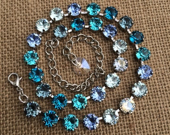 DREAMIN' of the CARIBBEAN, Swarovski Crystal necklace in shades of light blue and turquoise, 25% OFF grand opening sale with coupon code!