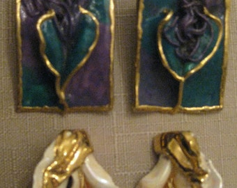 UnWorn Vintage Lacombe 1980's Handcrafted Signed Ceramic Earrings CHOOSE No 1 Blue Purple Calla Lilly 24K OR No 2 Cream Calla Lilly 24K