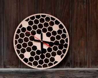 Wooden clock , Honeycomb Clock , clock - perfect gift.