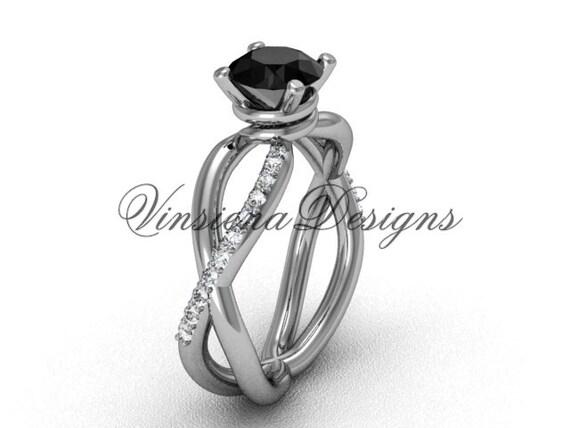 14kt White Gold Diamond Engagement Ring Black Diamond VD870