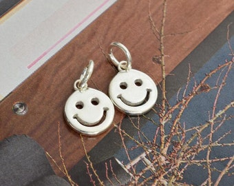 2 pcs sterling silver smile coin disc round charm pendant  YZ01