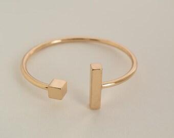 bar cuff bracelet gold or silver bracelet finding