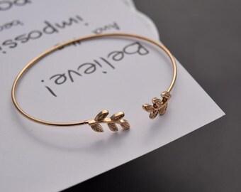 leaf cuff bracelet gold plated finding