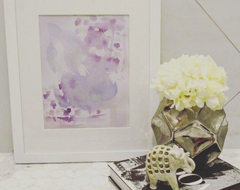 Purple Abstract Watercolor Painting - Framed