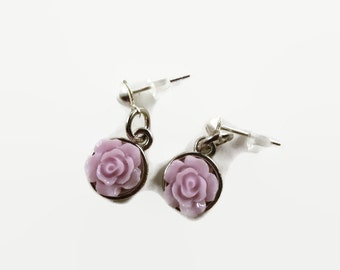 Lavender Rose Earrings