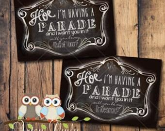 PRINTED Be my bridesmaid card, Hoe Parade, Funny Bridesmaid card