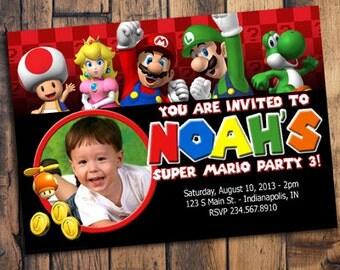 Super Mario Invitation with Photo, Mario Invite, Mario Invitation, Mario Birthday Invitation,