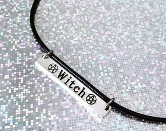 Witch Choker, Witch Necklace, Pentagram Necklace, Grunge Jewelry, Witchy Jewelry, Gypsy Jewelry, Witch Pendant, Witch Pentagram