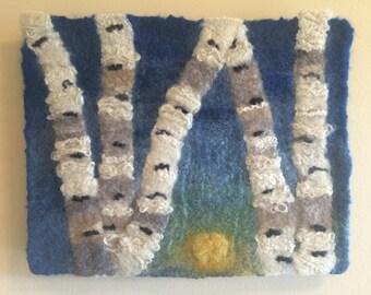 Five Birch, #1: A nuno felted wall hanging of Minnesota's birch trees