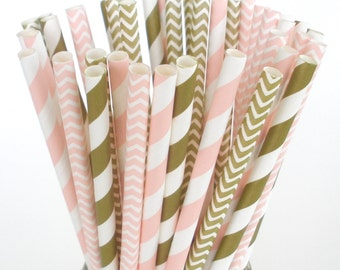 Pink and Gold Paper Straws Pink Stripe Pink Chevron Gold Stripe Gold Chevron Paper Straws Pack of 25 Paper Straws