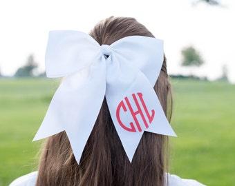 White Monogram Bow | Monogram Cheer Bow | Monogram Sports Bow | Little girl Bow | Soccer Bow | Cheer Bow | Basketball Bow | Stocking Stuffer
