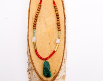 Meadow Malachite Amulet Necklace