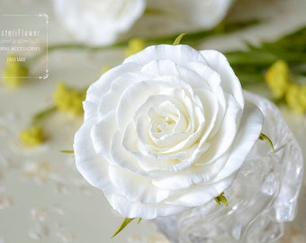 Bridal hair pin White Rose Wedding Rose Hair Pin Flower accessories Classic White wedding Bridesmaid Rose White hair flower hair jewelry