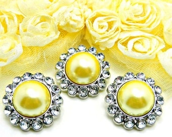 YELLOW Pearl Rhinestone Acrylic Buttons W/ Crystal Clear Surrounding Rhinestones Brooch Button Bouquet Coat Buttons 26mm 3185 49P 2R