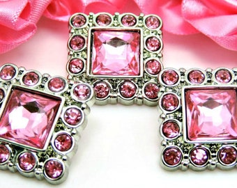 Pink Square Rhinestone Buttons Acrylic Rhinestone Buttons Rhinestone Garment Dress Buttons Coat Buttons Fashion Buttons 26mm 3134 26R