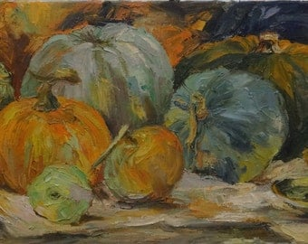 Autumn still life with pumpkins, a copper candlestick and the kettle.