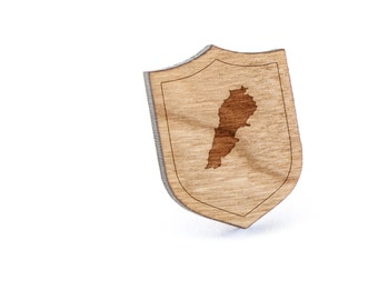 Lebanon Lapel Pin, Wooden Pin, Wooden Lapel, Gift For Him or Her, Wedding Gifts, Groomsman Gifts, and Personalized