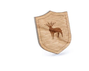 Stag Lapel Pin, Wooden Pin, Wooden Lapel, Gift For Him or Her, Wedding Gifts, Groomsman Gifts, and Personalized