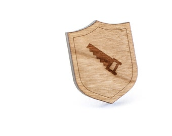 Saw Lapel Pin, Wooden Pin, Wooden Lapel, Gift For Him or Her, Wedding Gifts, Groomsman Gifts, and Personalized