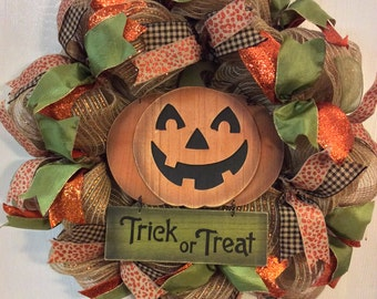 Halloween Wreath-Pumpkin  Wreath-Halloween Burlap Wreath-Pumpkin Burlap Wreath-Wreath