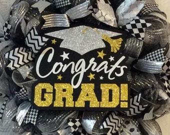 Graduation Wreath-Class of 2016 Wreath-Graduation Deco Mesh Wreath