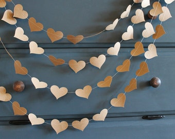 Craft Paper Red Heart Wedding Garland,  Hearts Bachelorette Party Decoration, Rustic Bridal Shower Photo Backdrop,  Baby  Bunting Banner