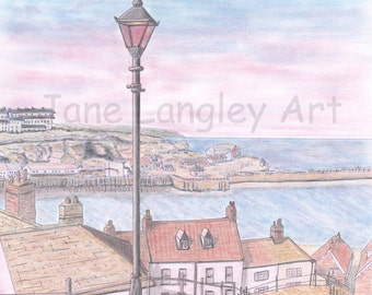 Whitby : Limited edition print of my original artwork, A4 size, No 1 of 100