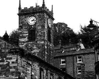 Holmfirth, Yorkshire Print, Church Photography, Digital Download Photography, Black and White Print, Art