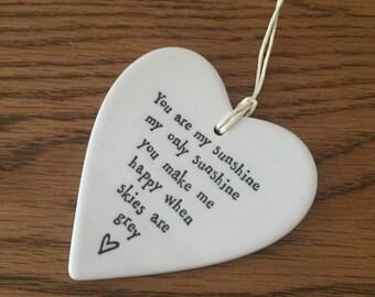 You are my sunshine, porcelain heart decoration